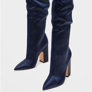 Zara Sateen high heel bright blue boots